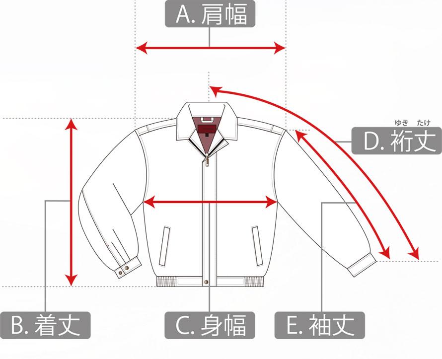 トップスの寸法の測り方
