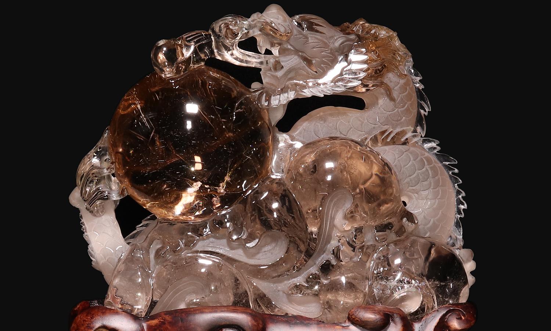 ルチルクォーツ龍彫り
