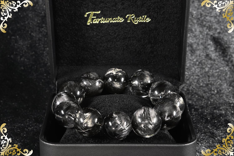 【最高峰】プレミアムS ブラックプラチナルチルクォーツ 19.3mm〜20.6mm玉 ブレスレット(型番spfr000)[手首サイズ19cm]の画像1