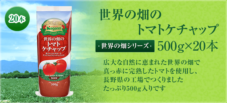 世界の畑からシリーズ 世界の畑のトマトケチャップ 広大な自然に恵まれた世界の畑で真っ赤に完熟したトマトを使用し、長野県の工場でつくりました。たっぷり500g入りです。