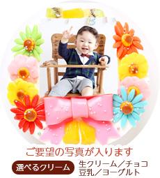 可愛いお子様の写真を、そのままケーキにしてお祝い♪