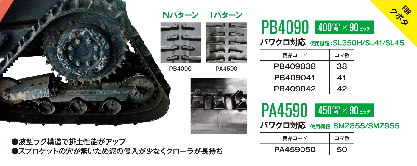 東日興産 トラクタ—ゴムクローラー芯金レス