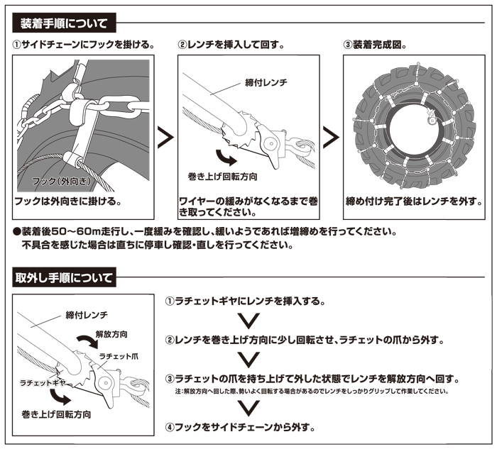 メスタイプラチェット式ワイヤーチェーンバンド装着方法