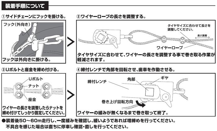 オスタイプ(マルチタイプ)建設機械・除雪車両用ラチェット式ワイヤーチェーンバンド装着について