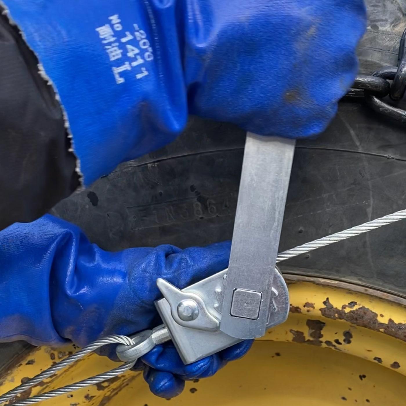 オスタイプ(マルチタイプ)建設機械・除雪車両用ラチェット式ワイヤーチェーンバンド形状