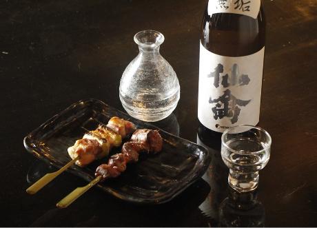 焼き鳥塩と日本酒