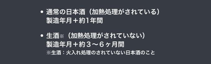 加熱処理がされている通常の日本酒だと製造年月+約1年間。加熱処理がされていない生酒だと製造年月+約3〜6ヶ月間が目安です。