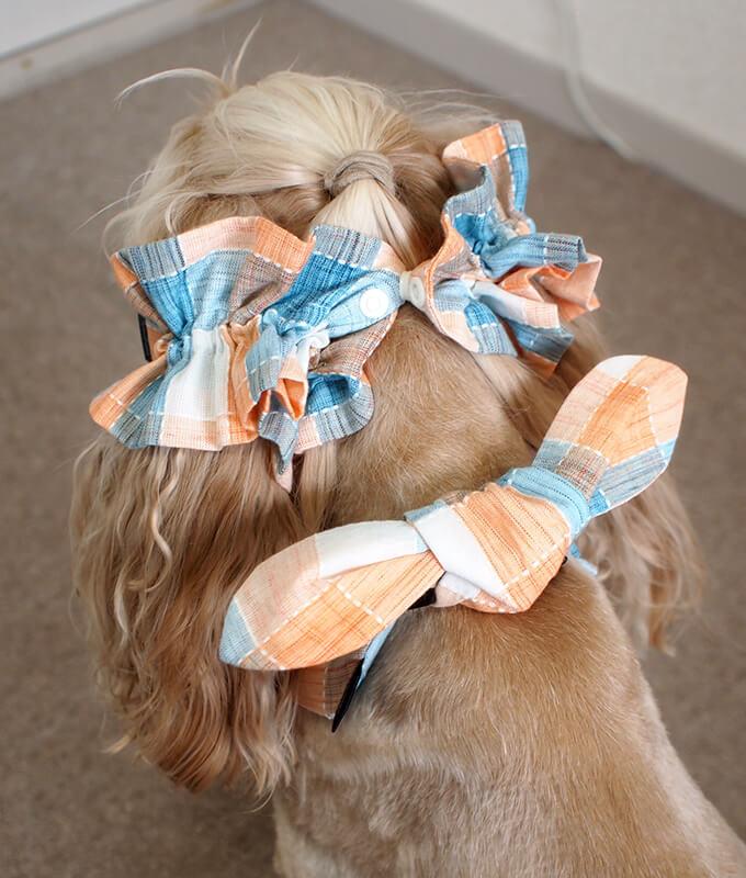 犬用 クールネック 熱中症対策 サマーチェック 夕暮れオレンジ リボンがある時