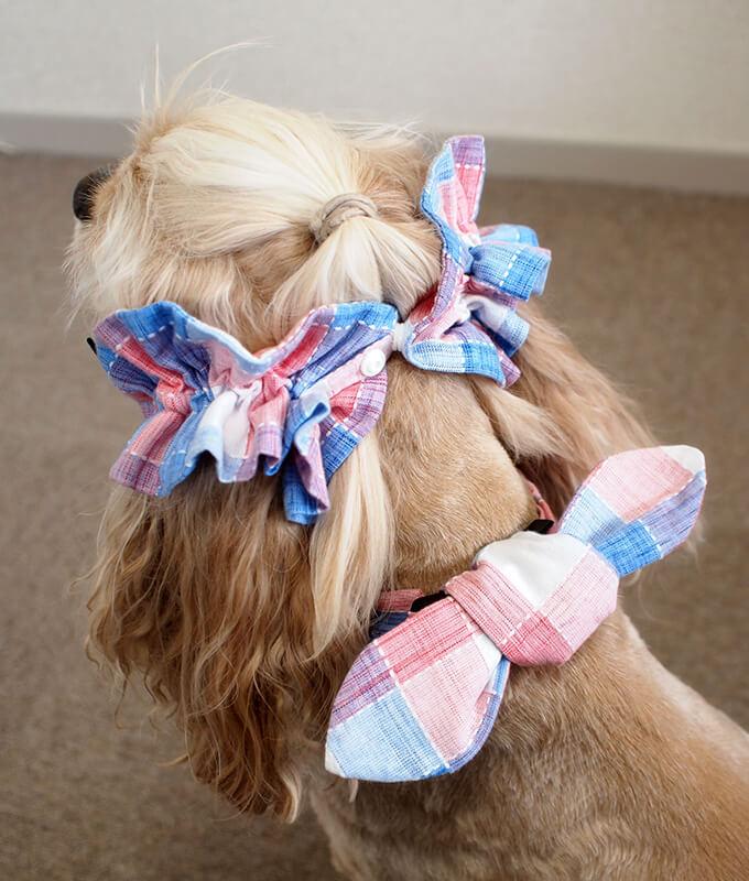 犬用 クールネック 熱中症対策 サマーチェック 朝焼けピンク リボンがある時