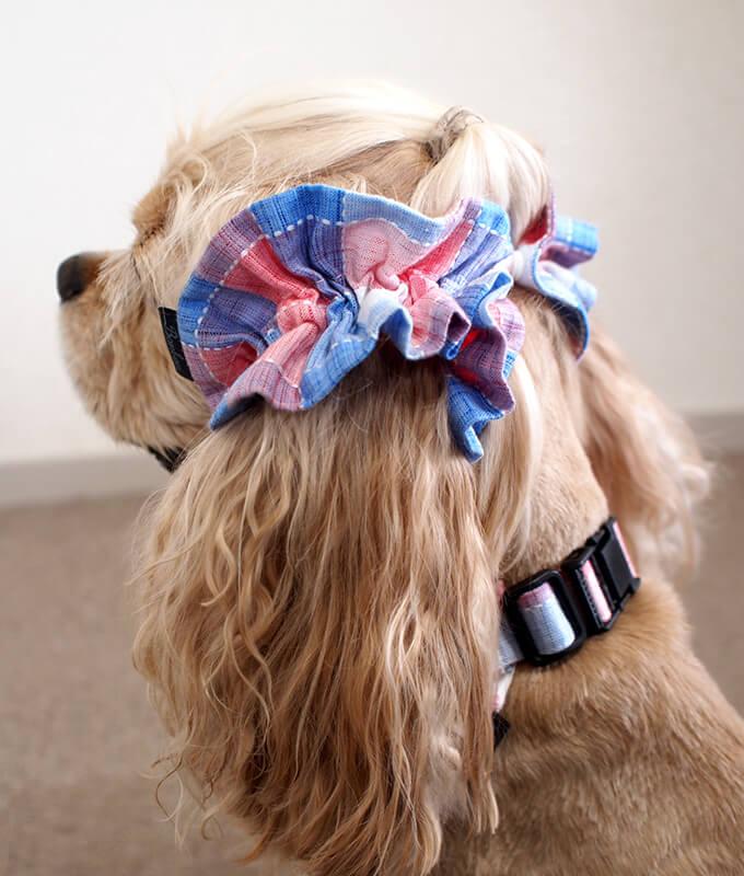 犬用 クールネック 熱中症対策 サマーチェック 朝焼けピンク リボンがない時