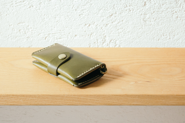 緑の革のカード&キー