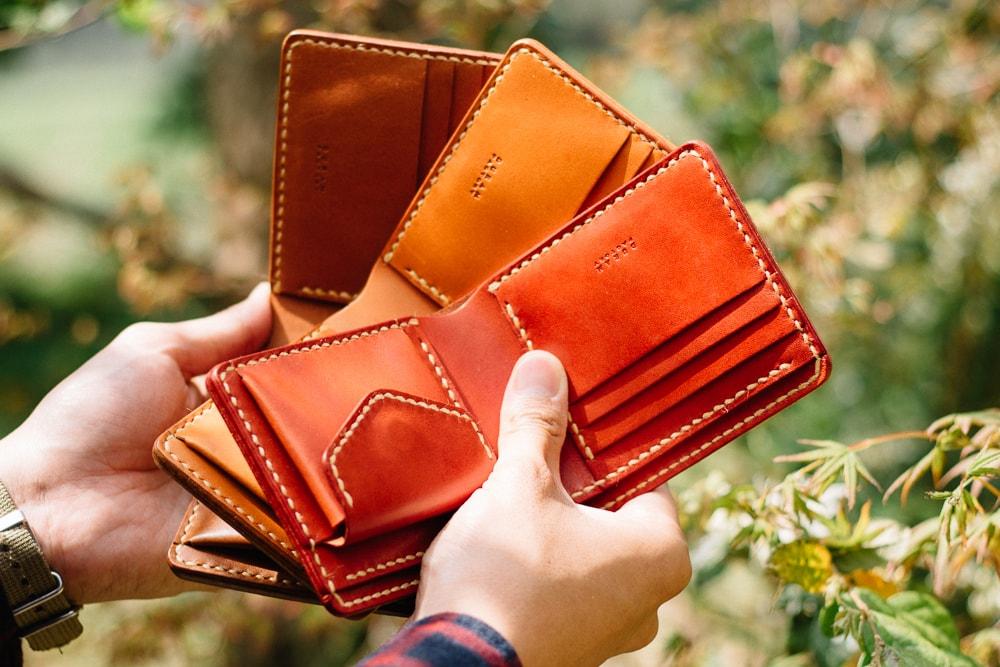 ブラウン系の革財布