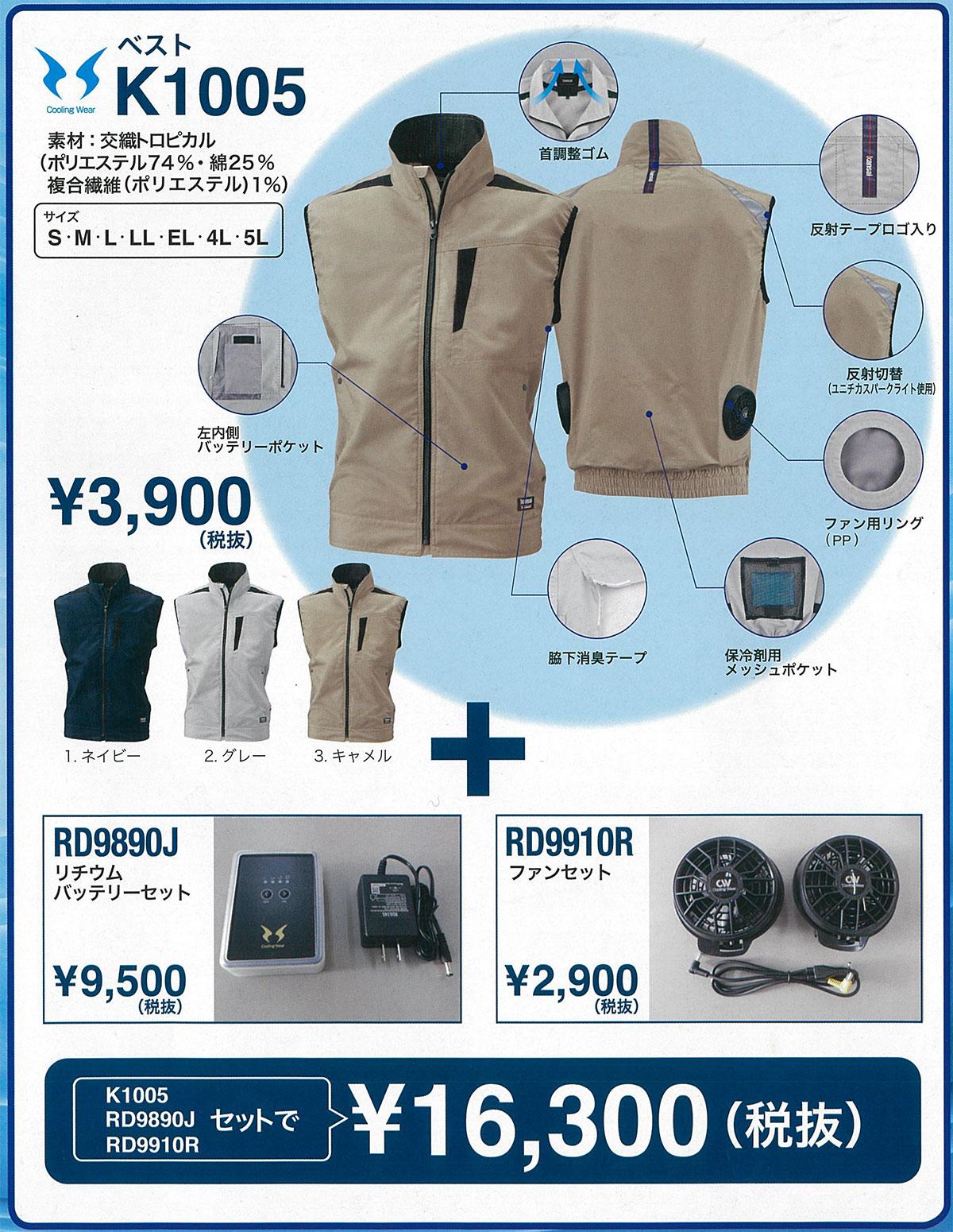 Kansaix空調風神服K1005空調服セットの詳細