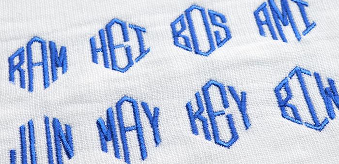 3文字モノグラム刺繍イメージ