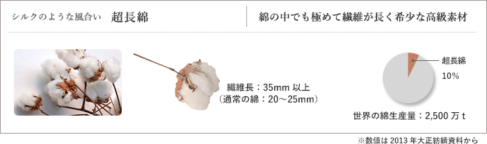 シルクのような風合い超長綿、コットンの中でも極めて繊維が長く希少な高級素材