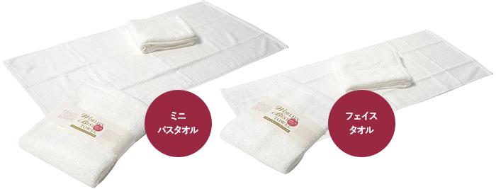 今治タオルの世界一のタオルミニバスタオルとフェイスタオルイメージ