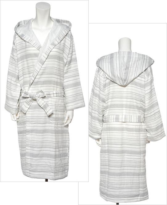絹綿美人のガーゼ×パイル仕様のバスローブ前後イメージ