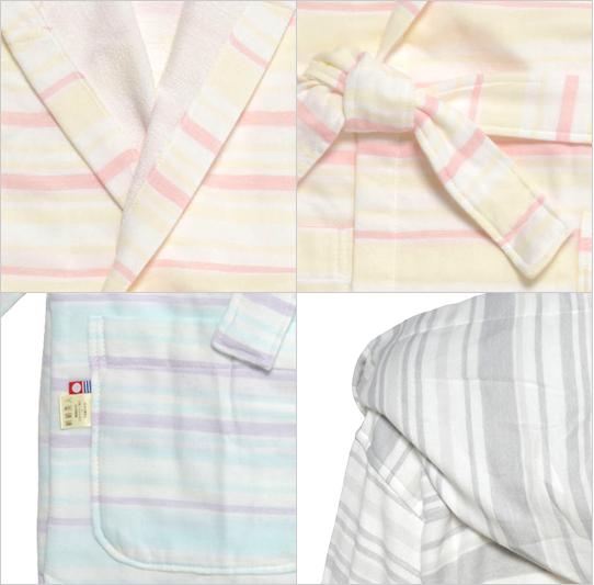 絹綿美人のガーゼ×パイル仕様のバスローブ詳細イメージ