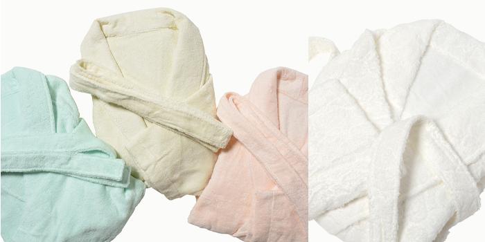 富岡産シルクアミノ酸を今治タオルに加工した絹綿美人のバスローブのイメージ