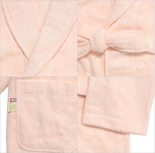 絹綿美人のホテルタイプ仕様のバスローブ詳細イメージ
