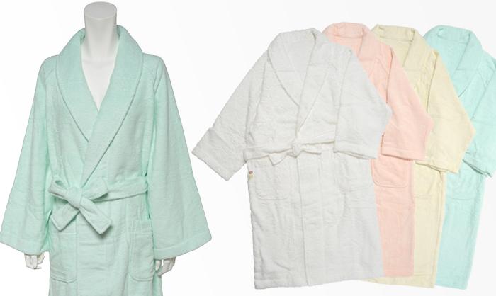 富岡産シルクアミノ酸を今治タオルに加工した絹綿美人のバスローブ