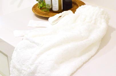絹綿美人の極柔タオル仕様のバスドレスイメージ