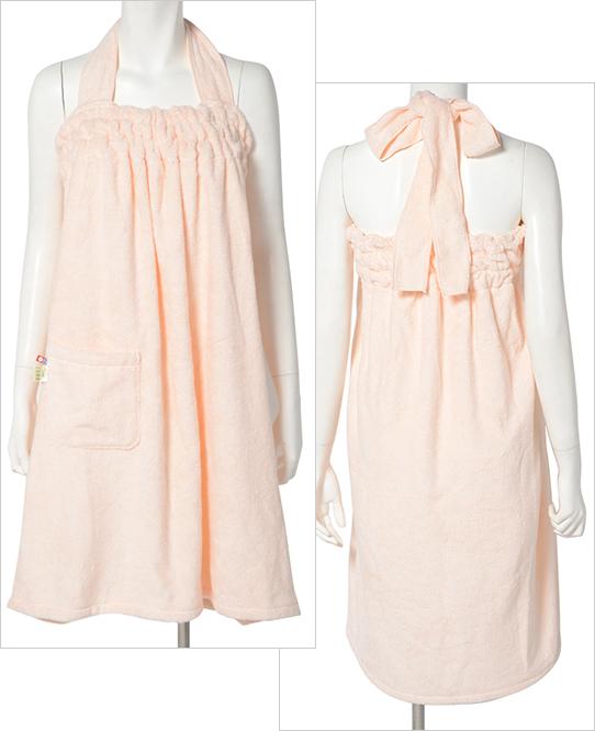 富岡産シルクアミノ酸を今治タオルに加工した絹綿美人のバスドレスの前後イメージ