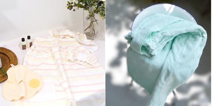 富岡産シルクアミノ酸を今治タオルに加工した絹綿美人のバスドレスのイメージ