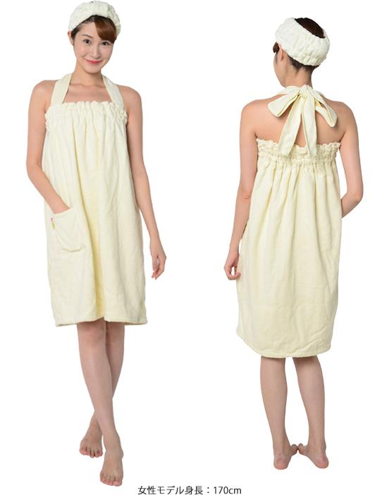 """絹綿美人のバスドレスの女性着用イメージ"""""""