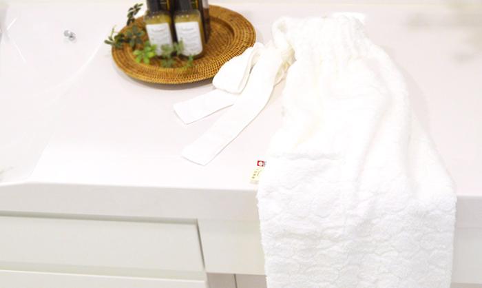 富岡産シルクアミノ酸を今治タオルに加工した絹綿美人のバスドレス