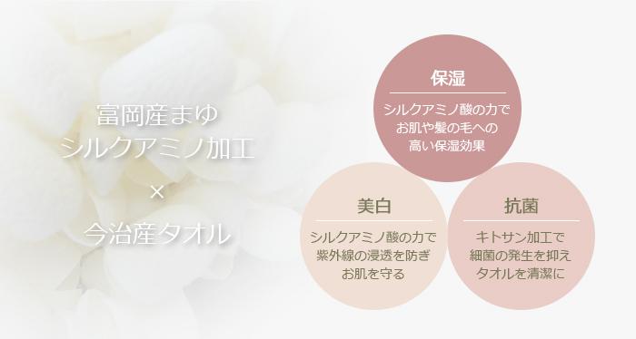 富岡産まゆのシルクアミノ加工×今治産タオル