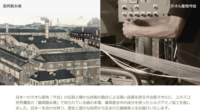 日本一のタオル産地「今治」の伝統と確かな技術の融合による高い品質を誇る今治産タオルに、ユネスコ世界遺産の「富岡製糸場」で知られている絹の本場、富岡産まゆの成分を使ったシルクアミノ加工を施しました