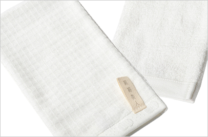 絹綿美人のワッフル×パイル仕様のバスミトンイメージ