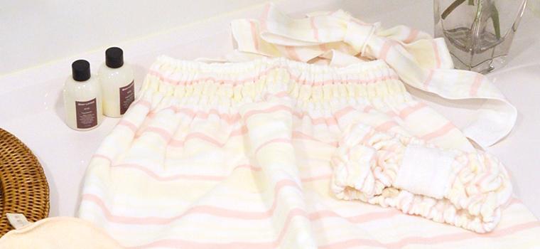 富岡産シルクアミノ酸を今治タオルに加工した絹綿美人のヘアターバンのコーディネートイメージ