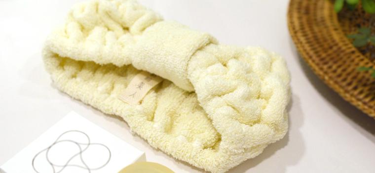 富岡産シルクアミノ酸を今治タオルに加工した絹綿美人のヘアターバンのディテールへのこだわりイメージ