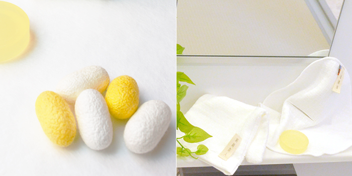 絹でつくった石鹸、kinuと絹綿美人のイメージ