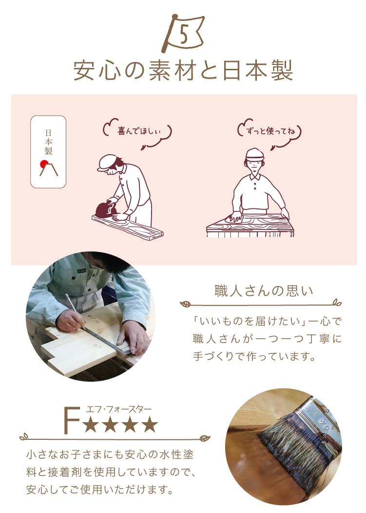安心と素材の日本製
