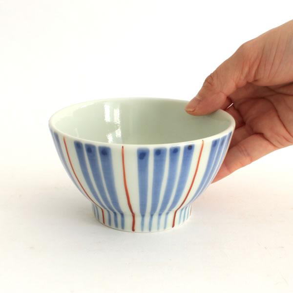 大日窯 線引赤 飯碗 小/大
