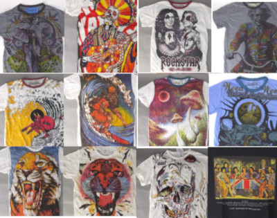 インパクトのある総柄プリント&シワ加工 Tシャツ。