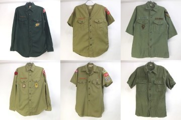 オールドタイプのボーイスカウトシャツ、コットンサテンの半袖ユーティリティ