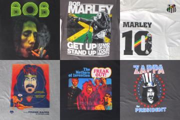 フランクザッパ、ボブマーリー、オフィシャルバンドTシャツ