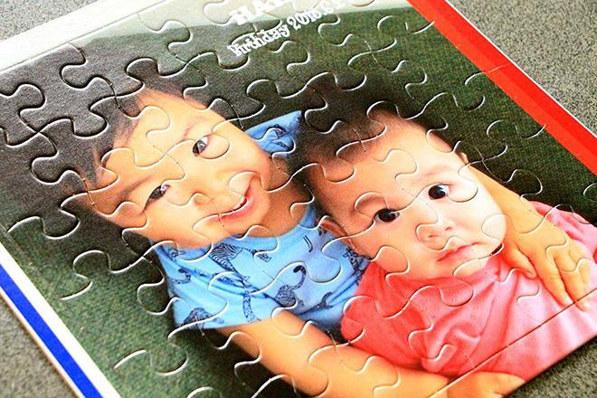 お孫さんの写真を紙のパズルにUV印刷